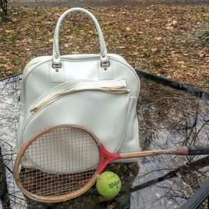 Vintage Tennis Travel Sport Case White Vinyl Bag